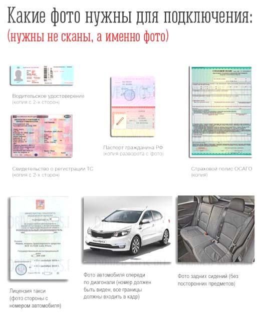 Документы для подключения к Яндекс Такси