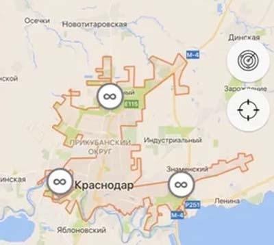 Зона действия Делимобиля в Краснодаре
