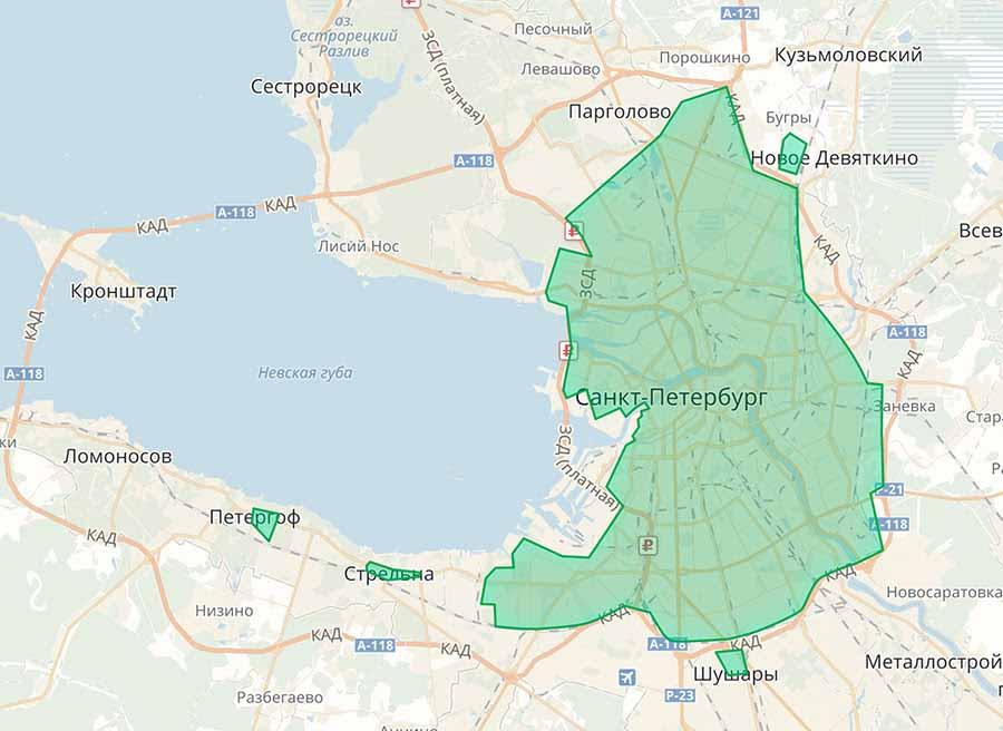 Зона завершения аренды YouDrive в Санкт-Петербурге