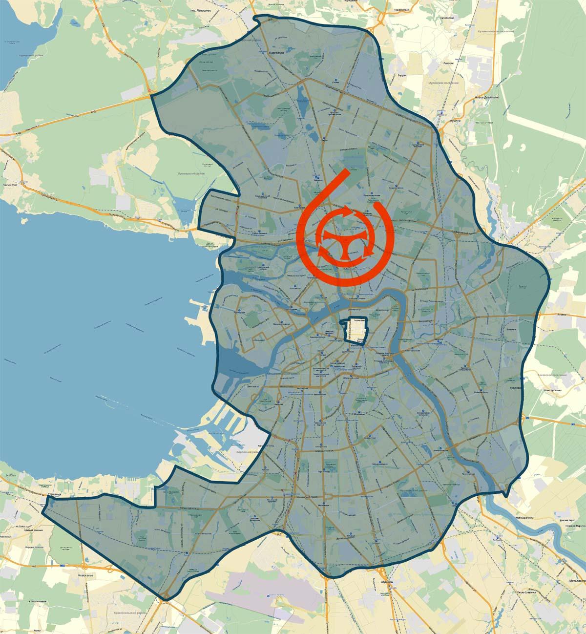 Зона завершения аренды в Санкт-Петербурге