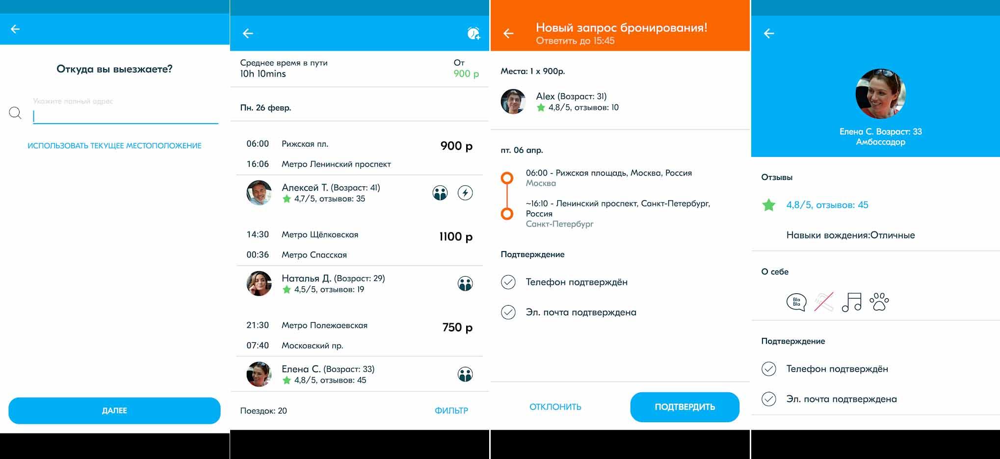 Функции приложения BlaBlaCar